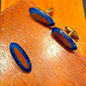 Vintage Davinci sterling cuff links and tie clip